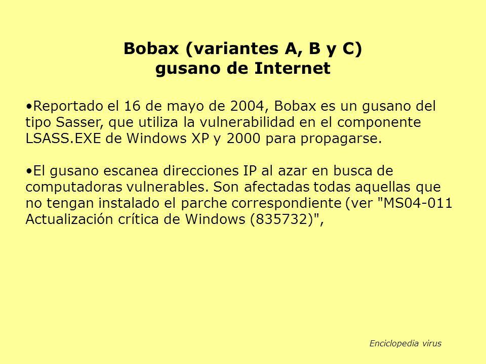 Bobax (variantes A, B y C) gusano de Internet