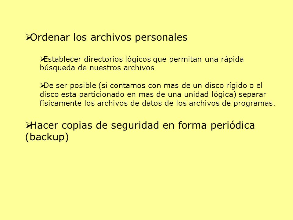 Ordenar los archivos personales