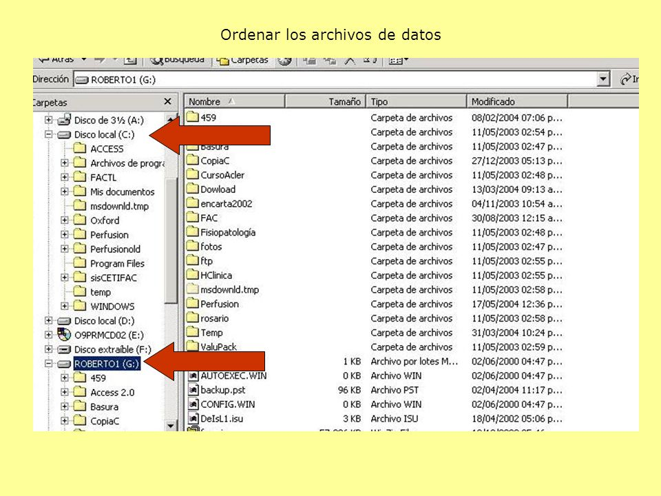 Ordenar los archivos de datos