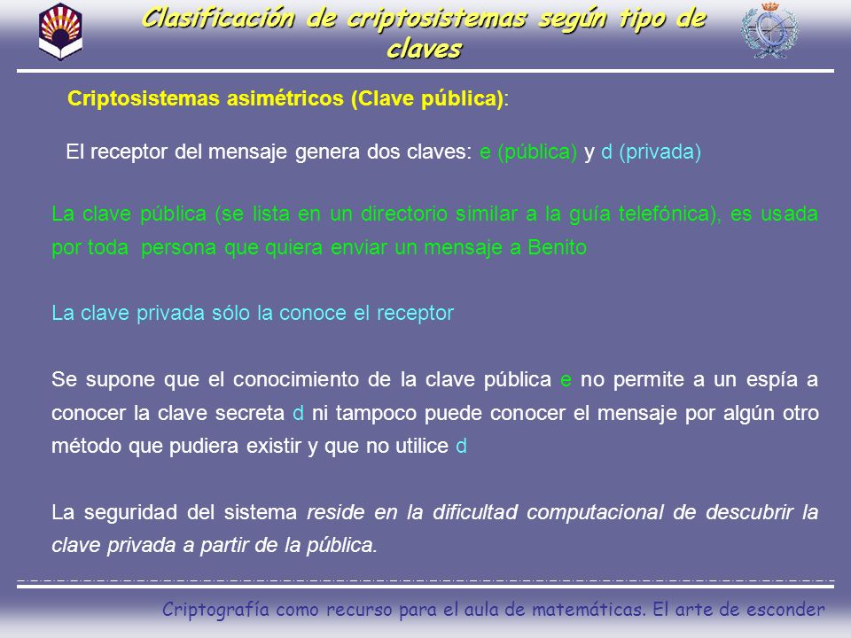 Clasificación de criptosistemas según tipo de claves