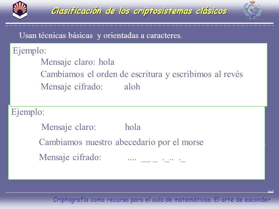 Clasificación de los criptosistemas clásicos