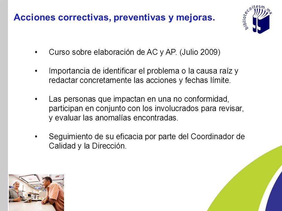 Acciones correctivas, preventivas y mejoras.