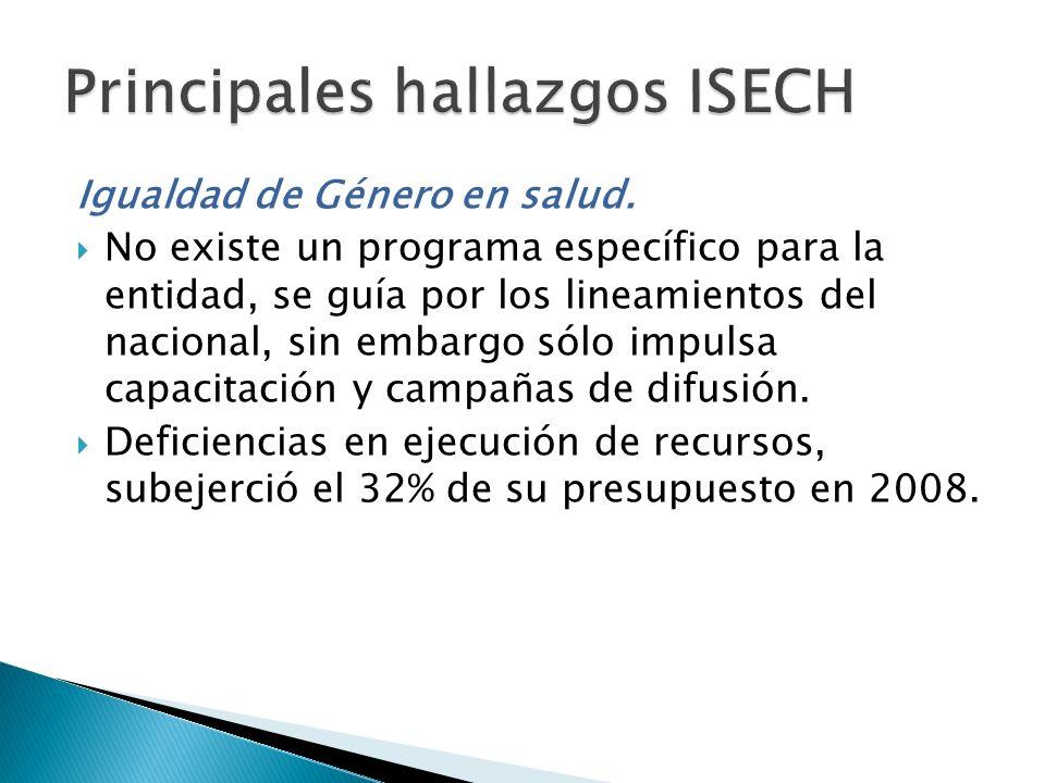 Principales hallazgos ISECH