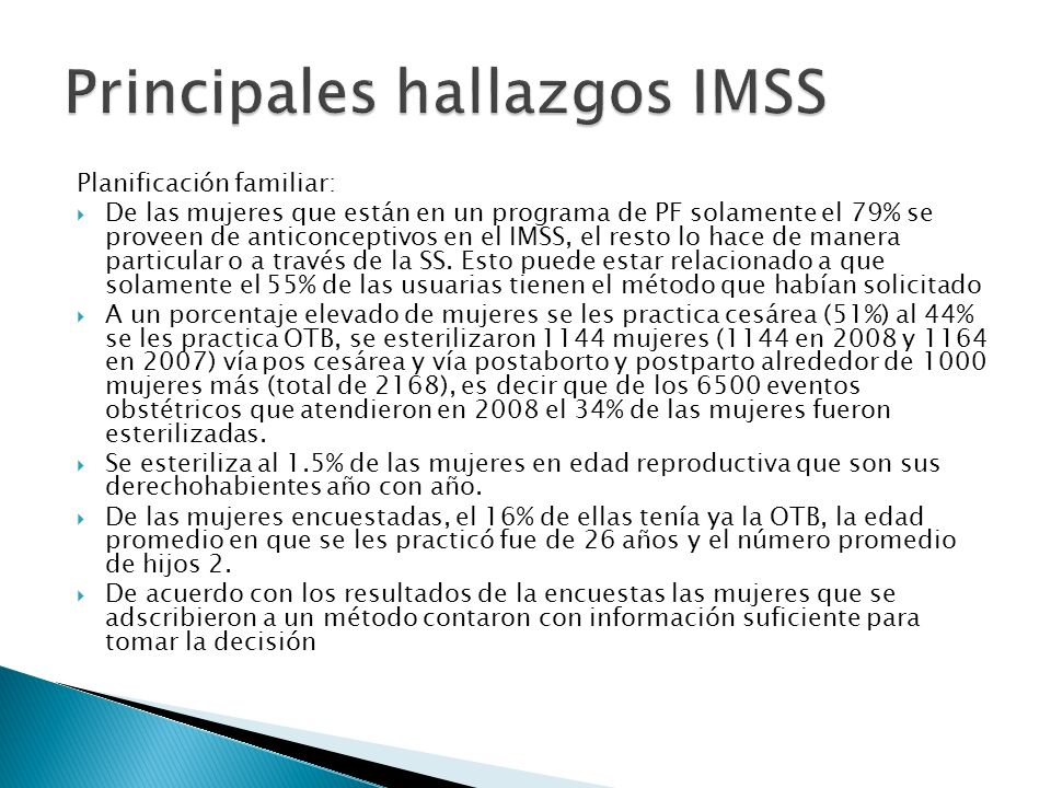 Principales hallazgos IMSS
