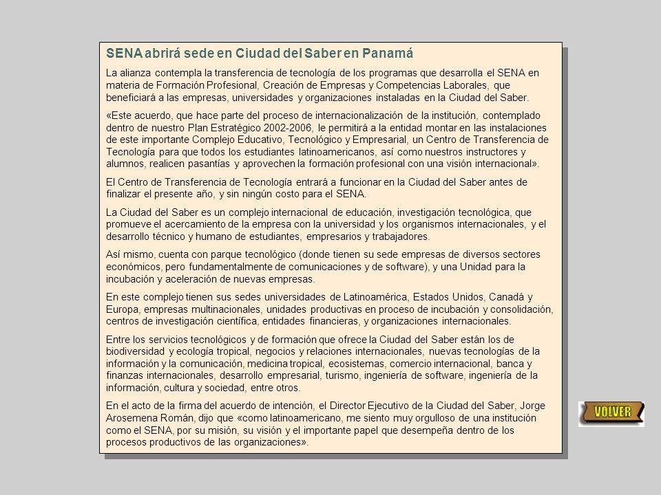 SENA abrirá sede en Ciudad del Saber en Panamá