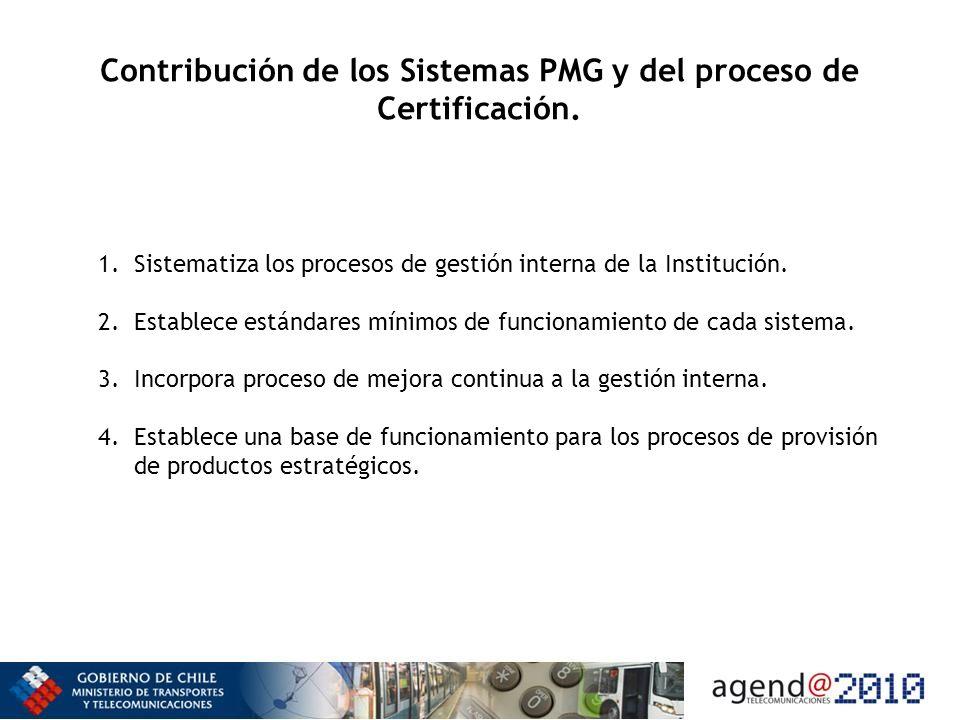 Contribución de los Sistemas PMG y del proceso de Certificación.
