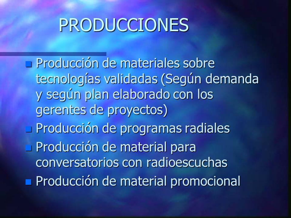 PRODUCCIONES Producción de materiales sobre tecnologías validadas (Según demanda y según plan elaborado con los gerentes de proyectos)
