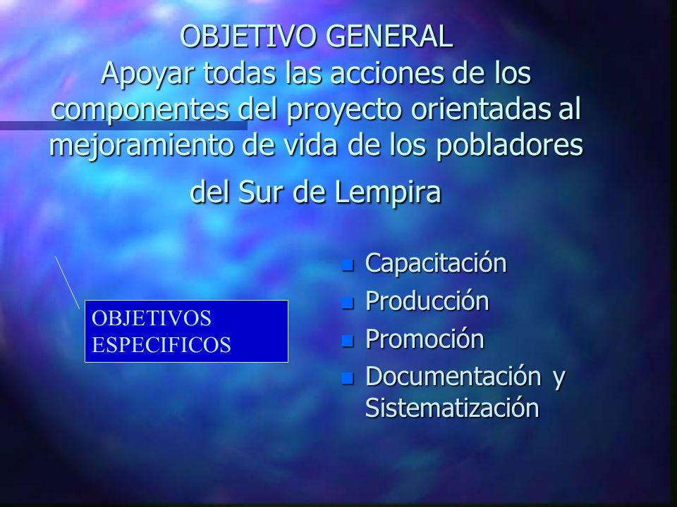OBJETIVO GENERAL Apoyar todas las acciones de los componentes del proyecto orientadas al mejoramiento de vida de los pobladores del Sur de Lempira