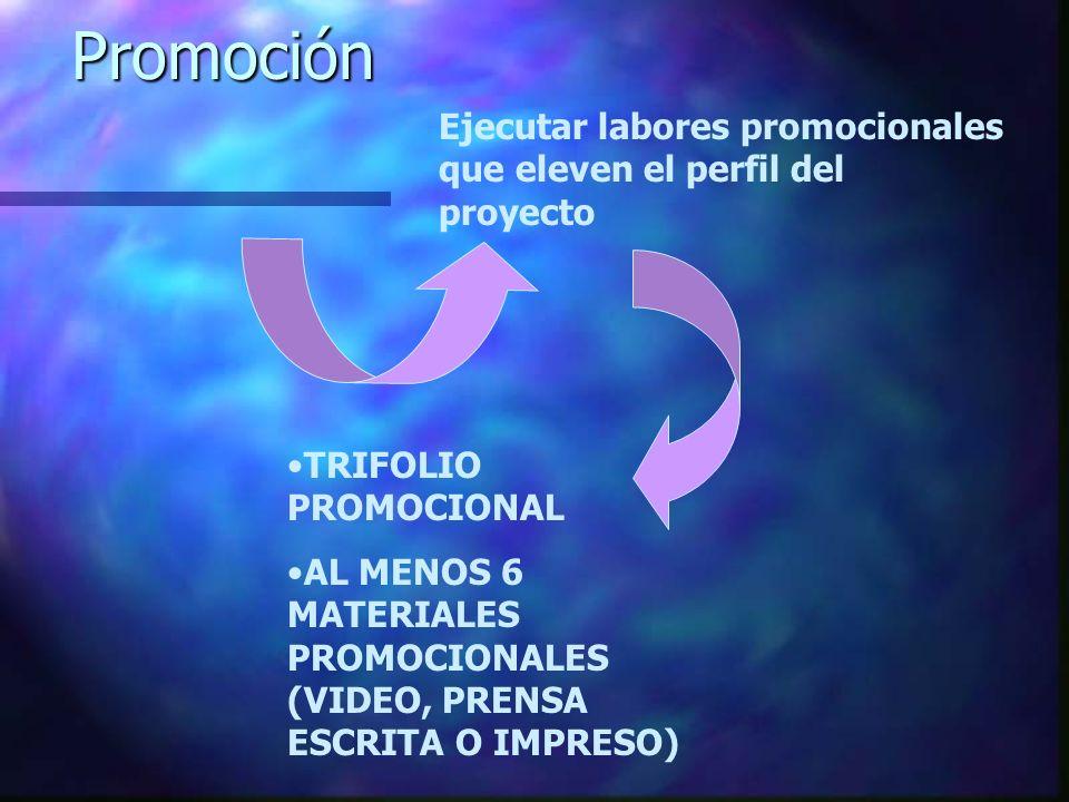 Promoción Ejecutar labores promocionales que eleven el perfil del proyecto. TRIFOLIO PROMOCIONAL.