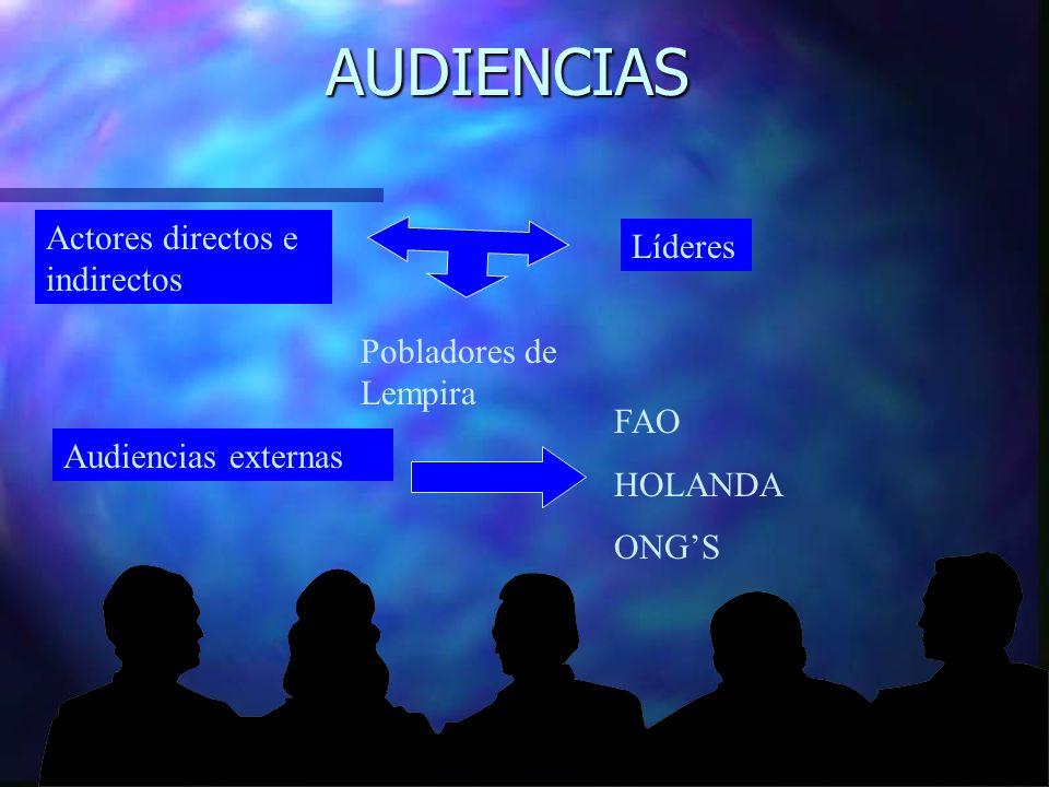 AUDIENCIAS Actores directos e indirectos Líderes Pobladores de Lempira