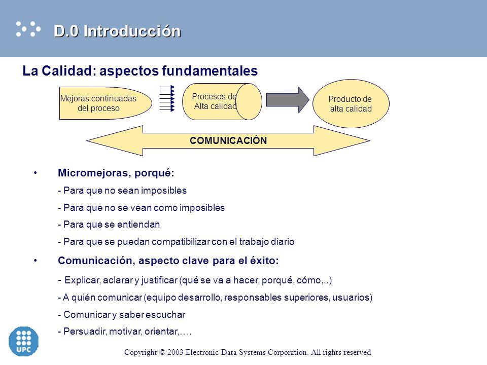 D.0 Introducción La Calidad: aspectos fundamentales