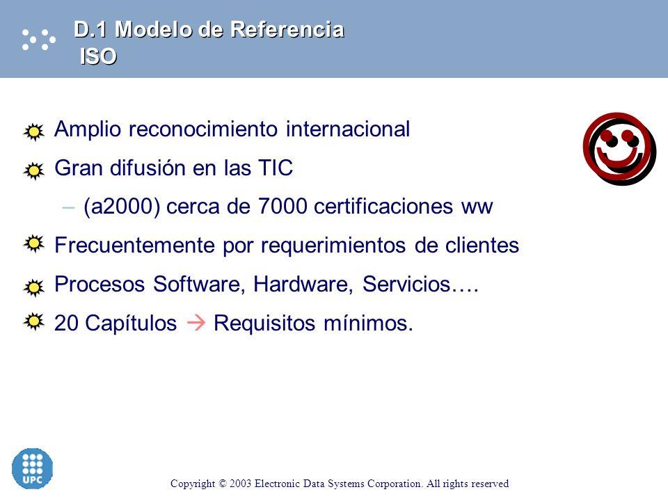  D.1 Modelo de Referencia ISO Amplio reconocimiento internacional