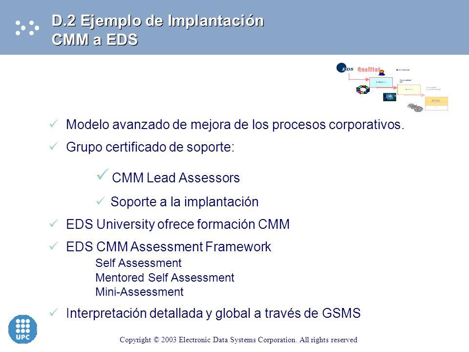 Qualitat CMM Lead Assessors D.2 Ejemplo de Implantación CMM a EDS