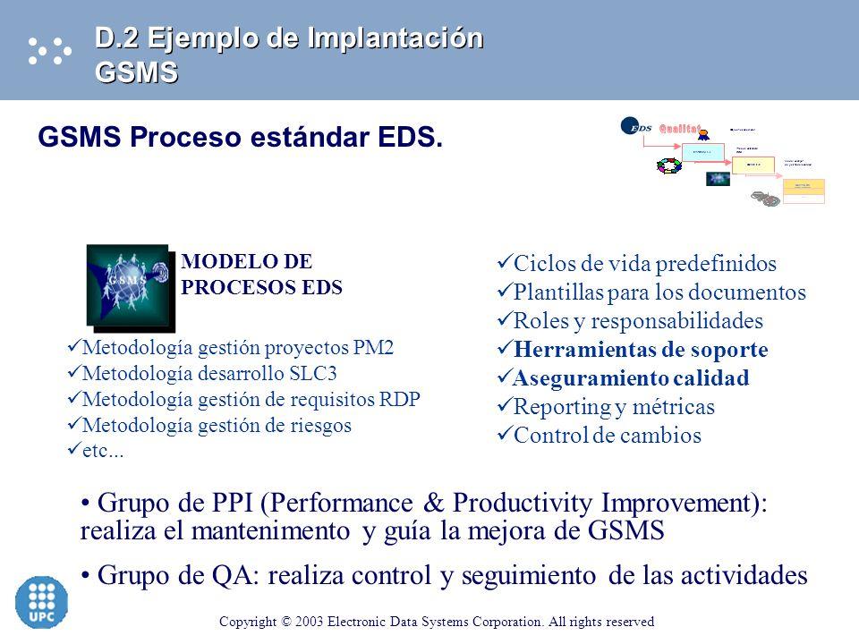 Qualitat D.2 Ejemplo de Implantación GSMS GSMS Proceso estándar EDS.