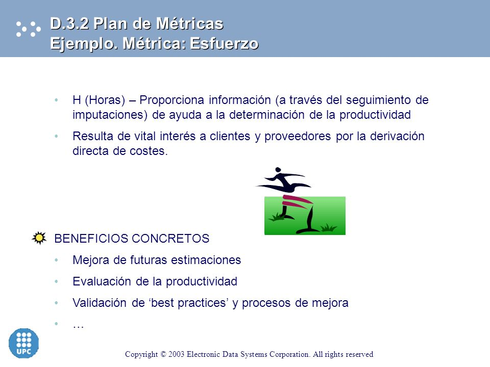 D.3.2 Plan de Métricas Ejemplo. Métrica: Esfuerzo