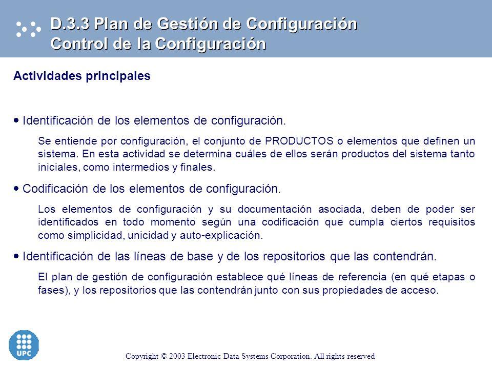 D.3.3 Plan de Gestión de Configuración Control de la Configuración