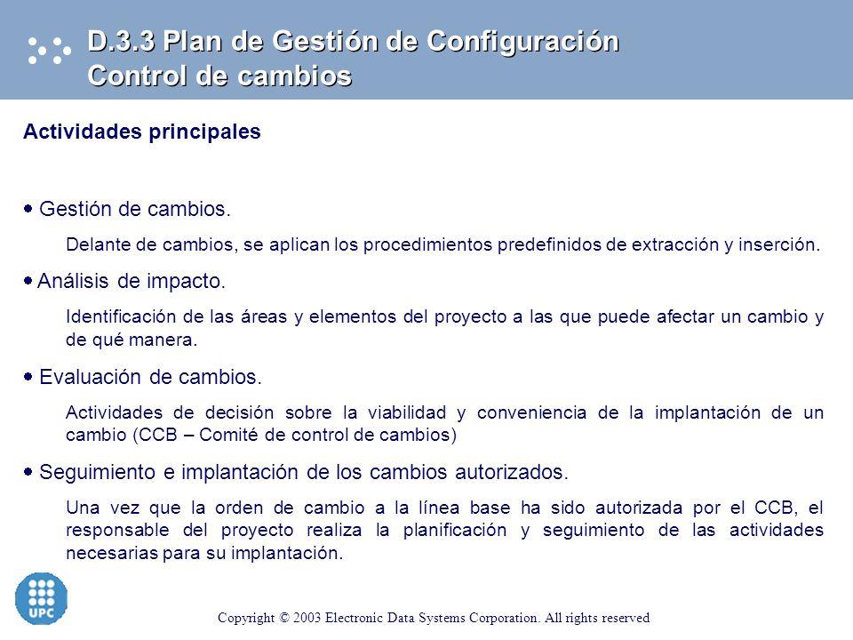 D.3.3 Plan de Gestión de Configuración Control de cambios