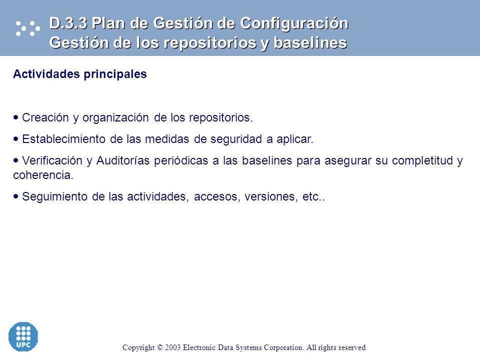 D.3.3 Plan de Gestión de Configuración Gestión de los repositorios y baselines