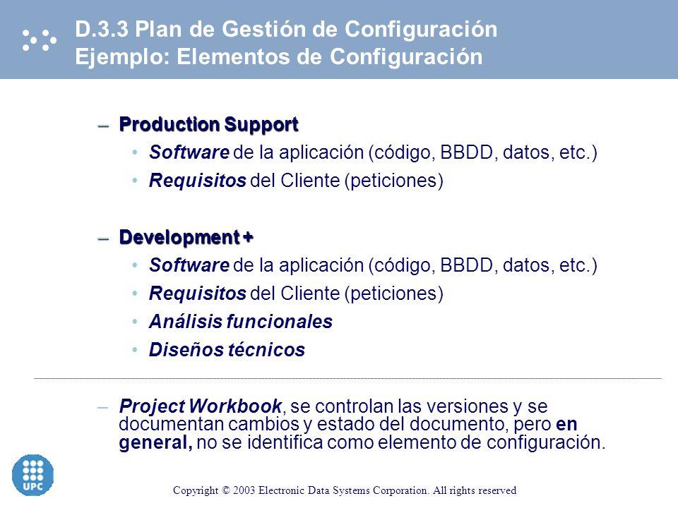 D.3.3 Plan de Gestión de Configuración Ejemplo: Elementos de Configuración