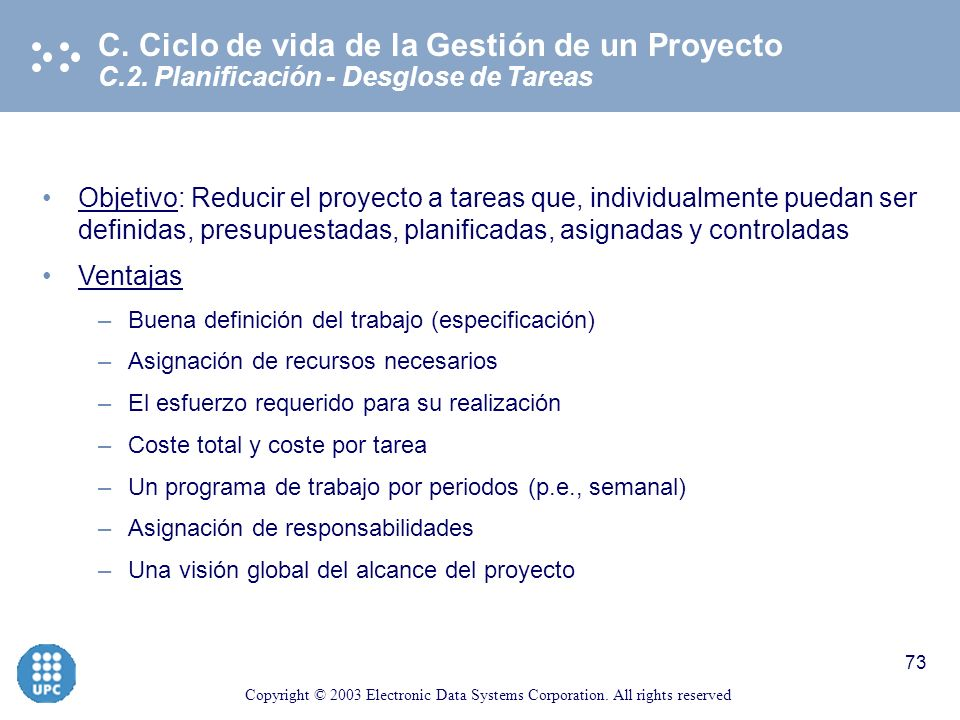 C. Ciclo de vida de la Gestión de un Proyecto