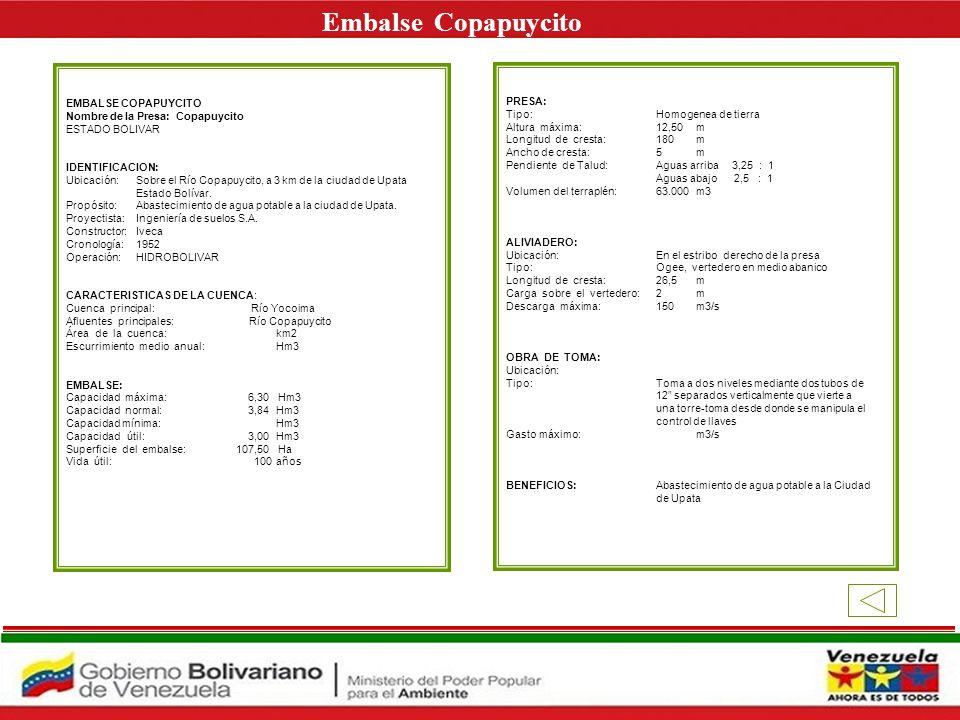 Embalse Copapuycito E EMBALSE COPAPUYCITO PRESA: