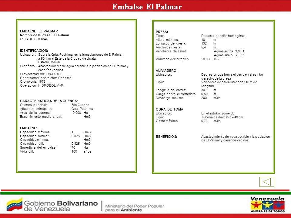 Embalse El Palmar E EMBALSE EL PALMAR PRESA: