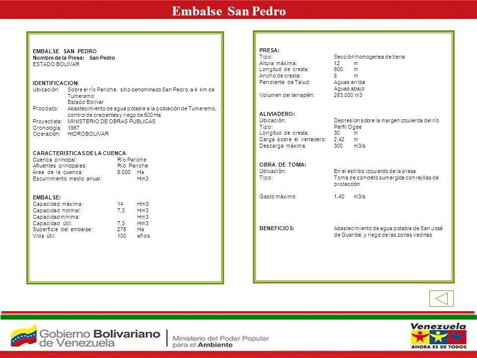 Embalse San Pedro E EMBALSE SAN PEDRO PRESA: