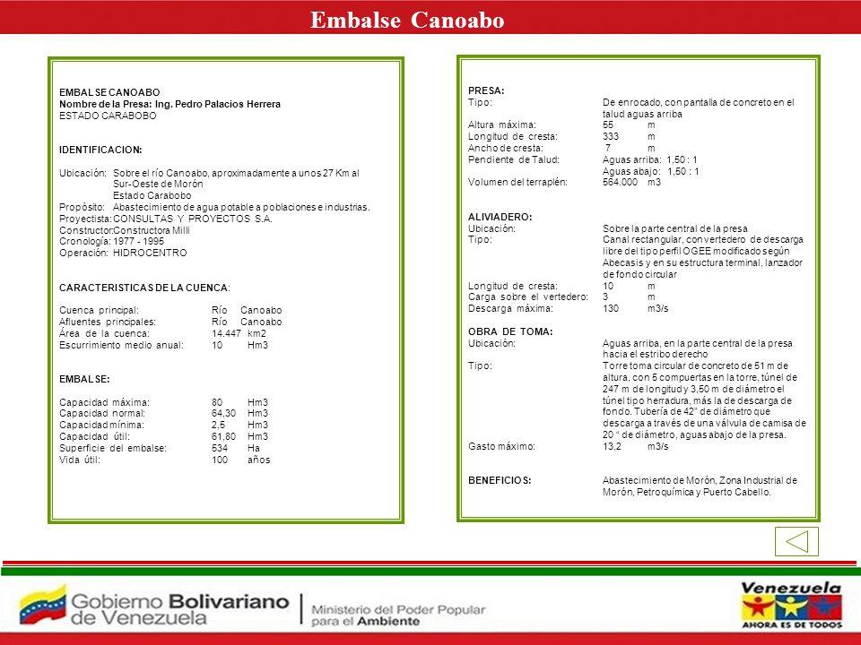 Embalse Canoabo E EMBALSE CANOABO PRESA: