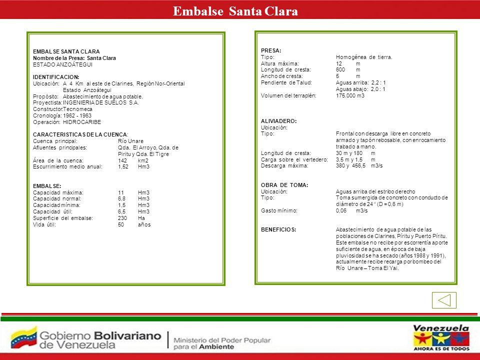 Embalse Santa Clara E EMBALSE SANTA CLARA PRESA: