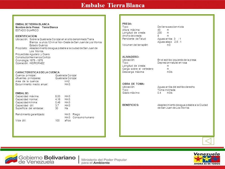 Embalse Tierra Blanca E EMBALSE TIERRA BLANCA PRESA:
