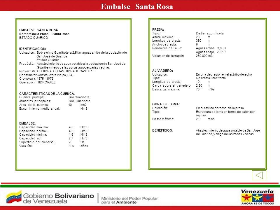 Embalse Santa Rosa E EMBALSE SANTA ROSA PRESA: