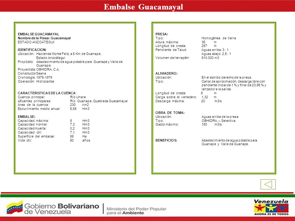 Embalse Guacamayal E EMBALSE GUACAMAYAL Nombre de la Presa: Guacamayal