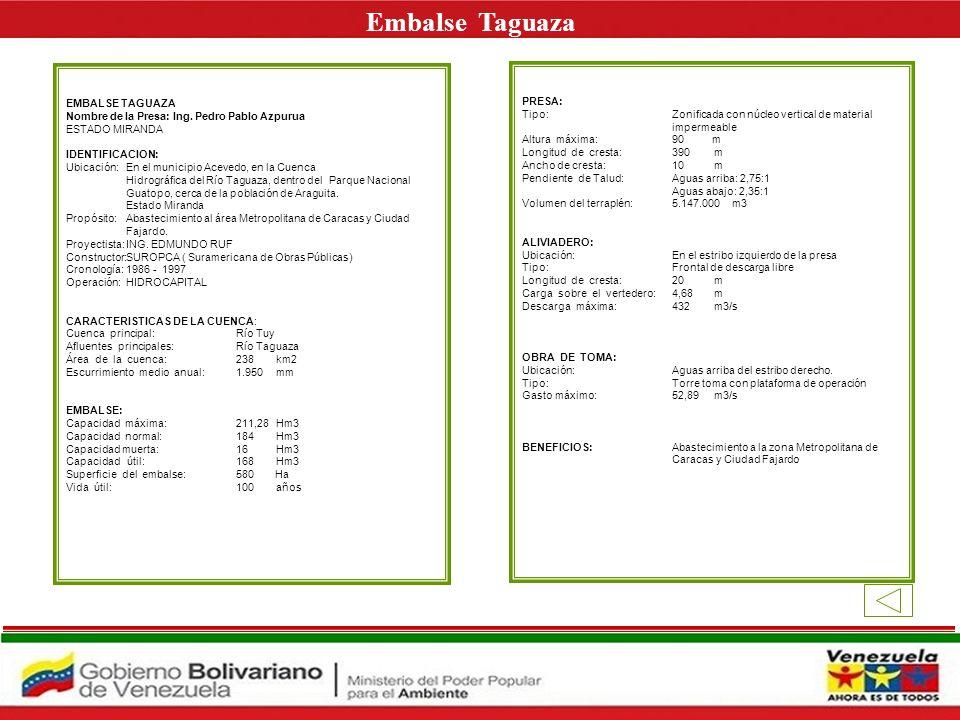 Embalse Taguaza E EMBALSE TAGUAZA PRESA: