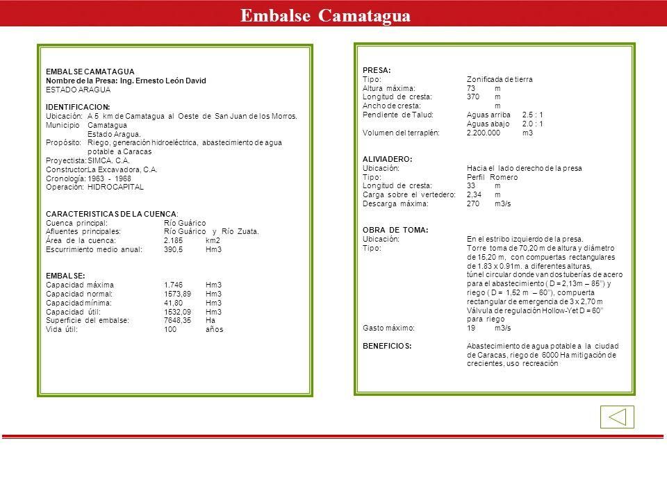 Embalse Camatagua E EMBALSE CAMATAGUA PRESA: