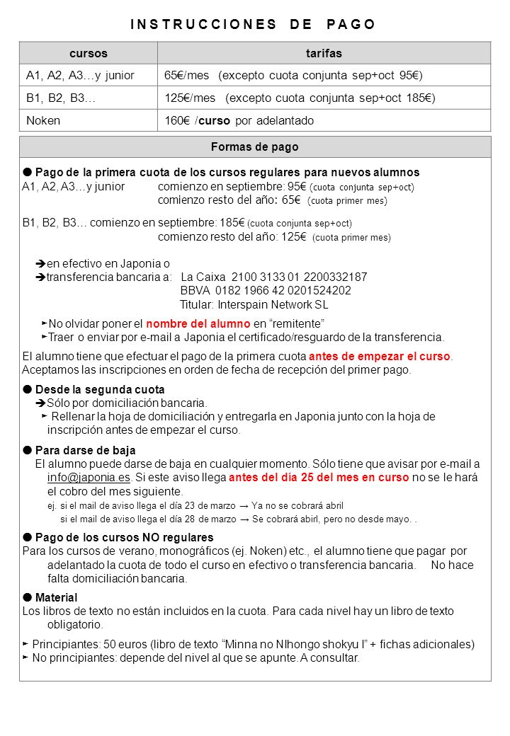 INSTRUCCIONES DE PAGO cursos tarifas A1, A2, A3…y junior