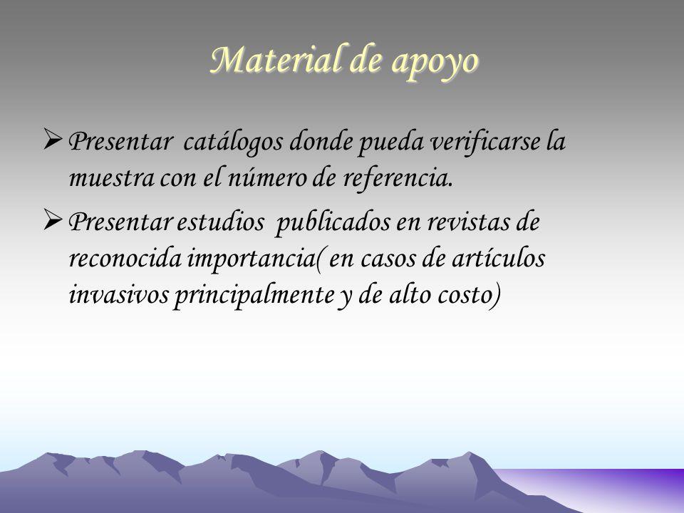 Material de apoyo Presentar catálogos donde pueda verificarse la muestra con el número de referencia.