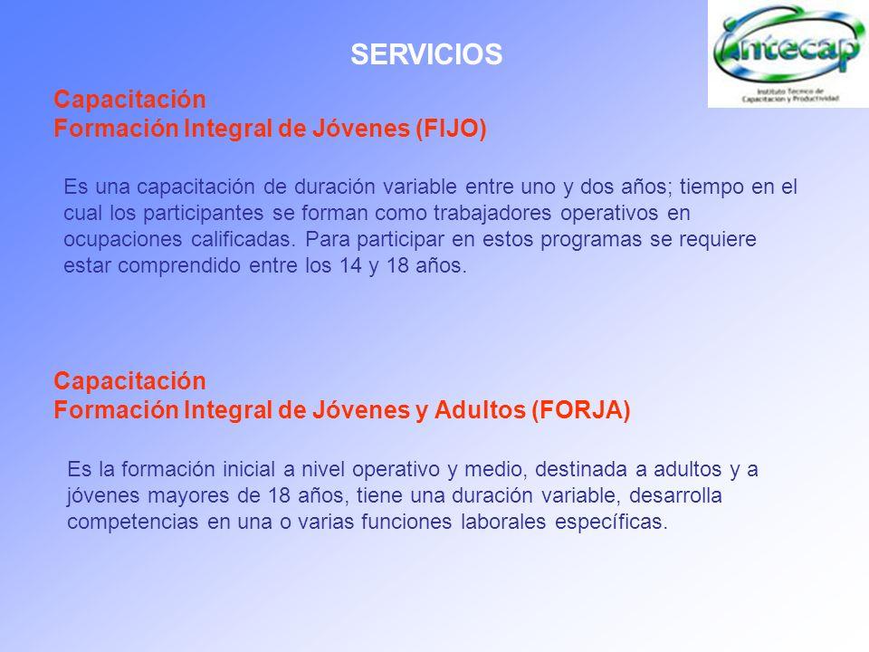 SERVICIOS Capacitación Formación Integral de Jóvenes (FIJO)