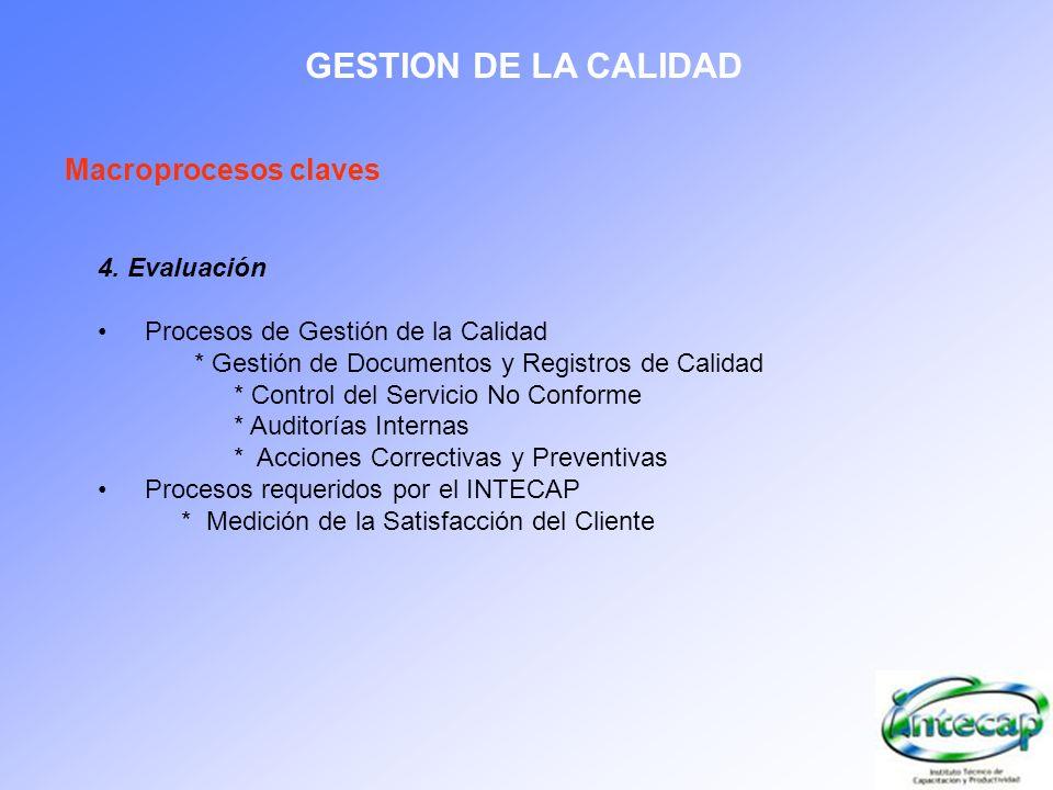 GESTION DE LA CALIDAD Macroprocesos claves 4. Evaluación