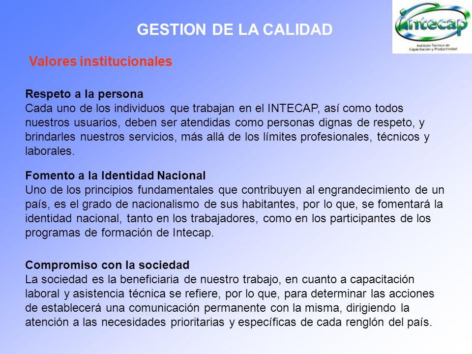 GESTION DE LA CALIDAD Valores institucionales