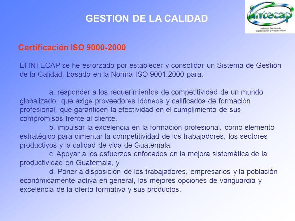 GESTION DE LA CALIDAD Certificación ISO 9000-2000