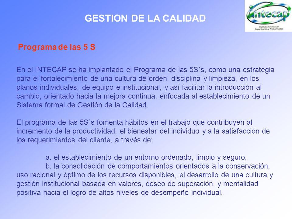 GESTION DE LA CALIDAD Programa de las 5 S