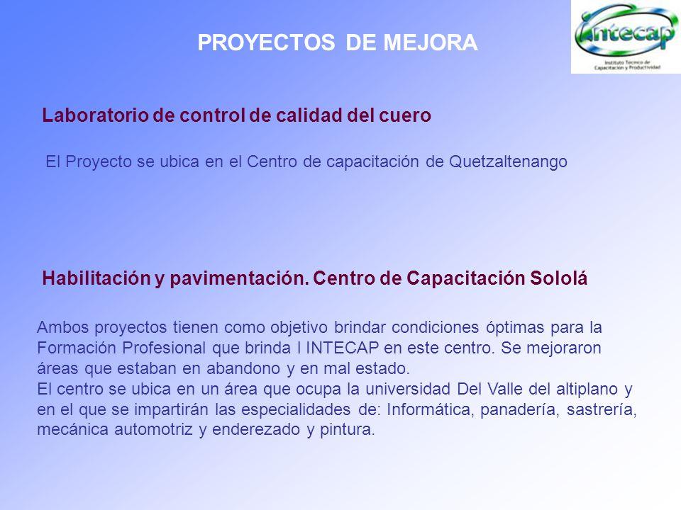 PROYECTOS DE MEJORA Laboratorio de control de calidad del cuero