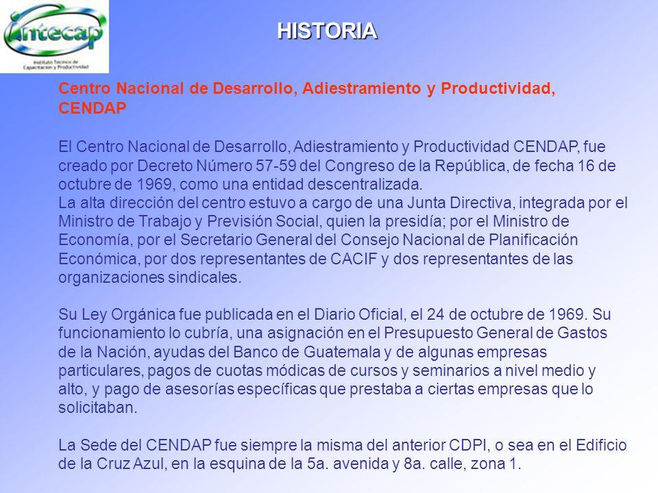 HISTORIACentro Nacional de Desarrollo, Adiestramiento y Productividad, CENDAP.