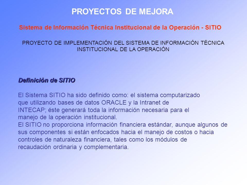 PROYECTOS DE MEJORASistema de Información Técnica Institucional de la Operación - SITIO.