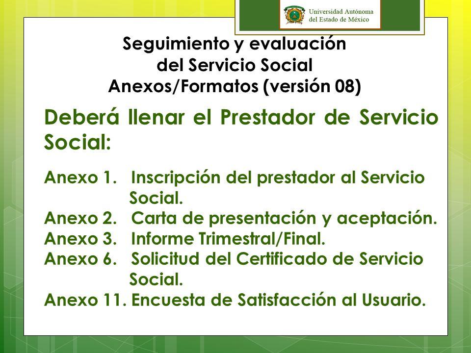 Deberá llenar el Prestador de Servicio Social: