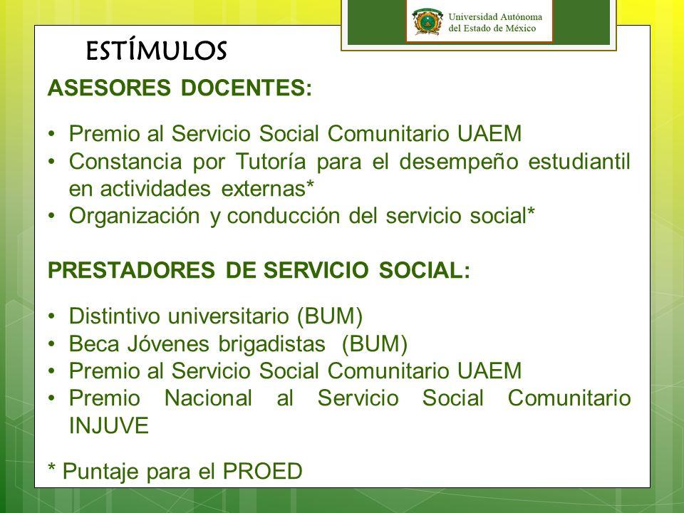 ESTÍMULOS ASESORES DOCENTES: