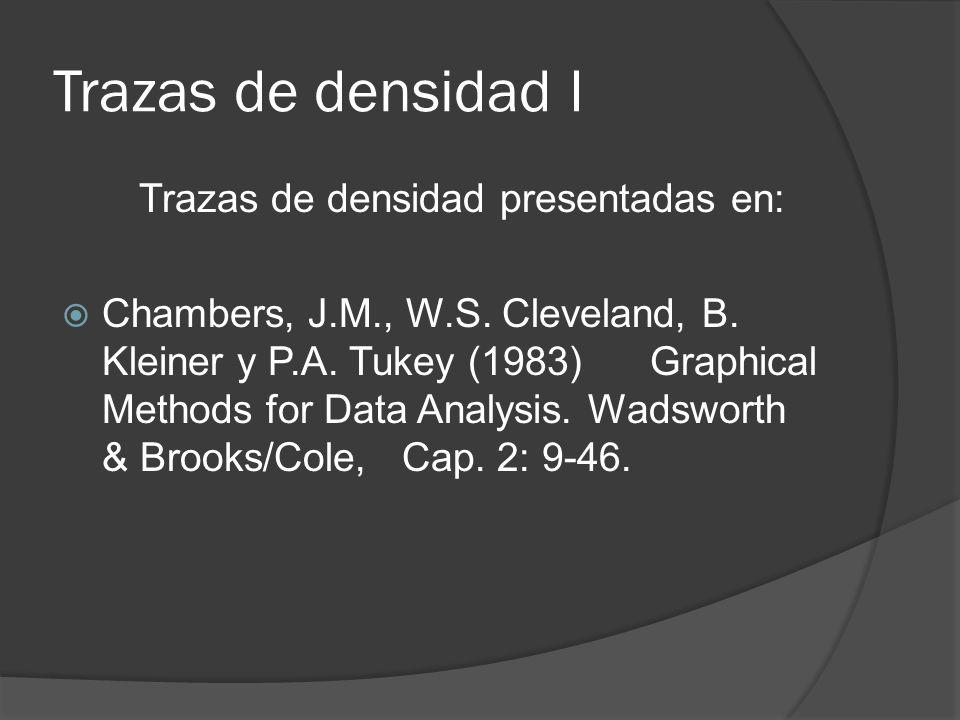 Trazas de densidad I Trazas de densidad presentadas en: