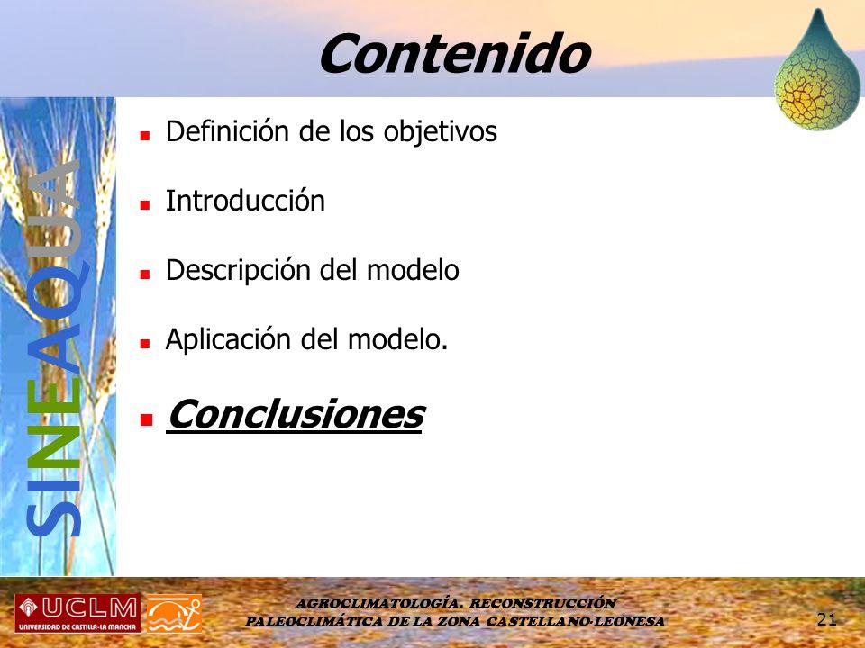 SINEAQUA Contenido Conclusiones Definición de los objetivos