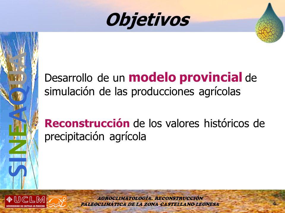 Objetivos Desarrollo de un modelo provincial de simulación de las producciones agrícolas.