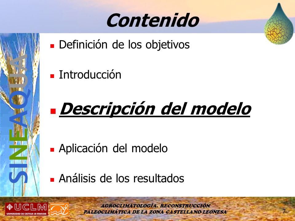SINEAQUA Contenido Descripción del modelo Definición de los objetivos